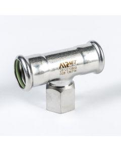 """Airnet RVS 316 verloop T-stuk Ø 28 x  ¾"""" x Ø 28 mm"""