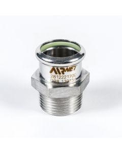 """Airnet RVS 316 nippel BSP Ø 42 mm x 1½"""" bui"""